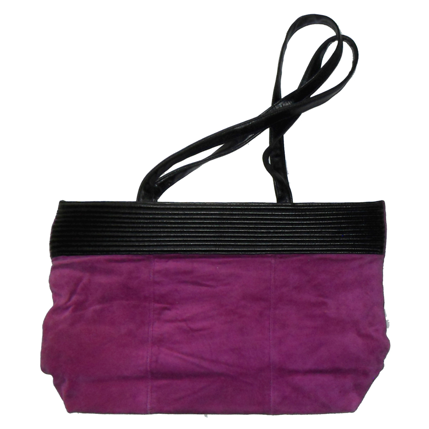 Purple suede tote bag with black leather detail