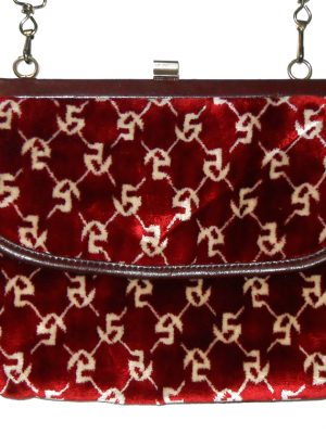 Vintage framed red and cream velvet handbag