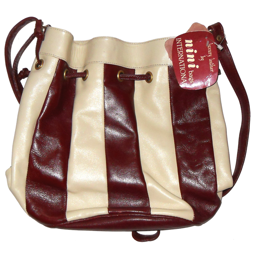 Burgundy and cream striped leather shoulder bag