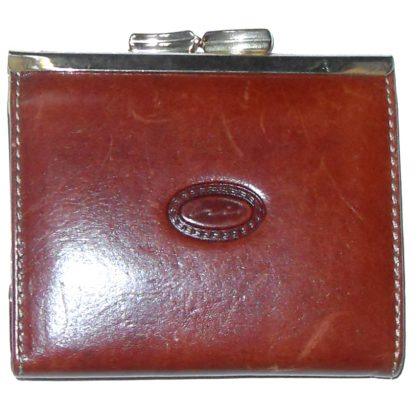 Brown leather coin purse with gold tone frmae and clasp and fabric lined interior