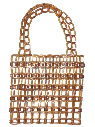 Vintage brown clear plastic linked handbag