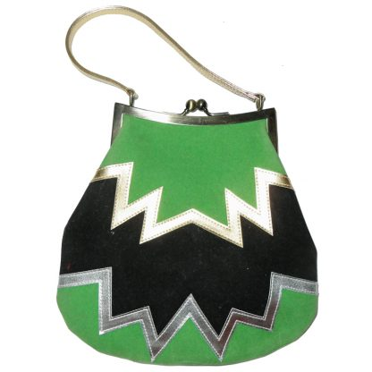 Retro handbag with a zig zag design in green black gold and silver