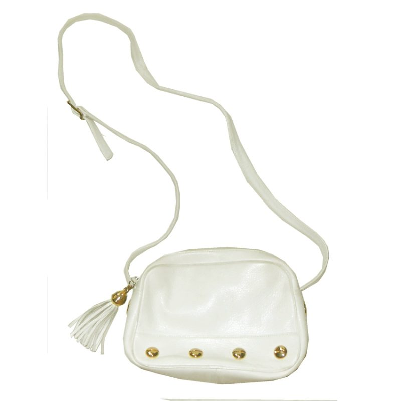 Retro white leather shoulder bag