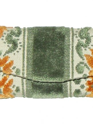 Green orange and cream key wallet purse