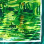 Green scarf with pictorial design of people in boats
