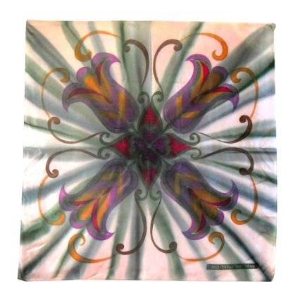 Grey background silk scarf