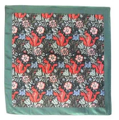 William Morris Compton design silk scarf with a green border