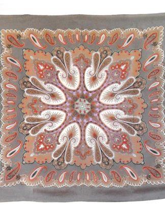 Grey paisley design silk scarf