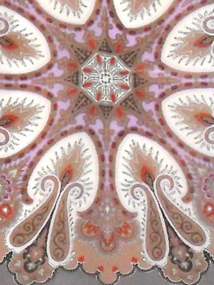 Grey paisley design silk scarf