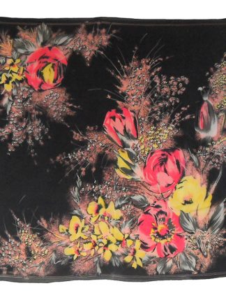 Sheer floral scarf with a black background