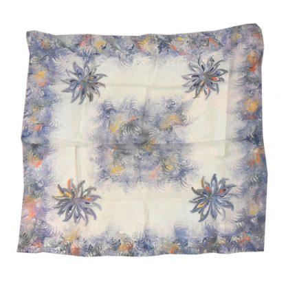 Blue silk chiffon scarf