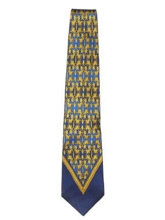 Gianni Versace blue and gold silk tie