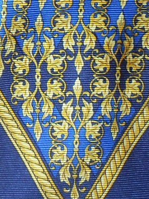 Gianni Versace blue and gold design silk tie