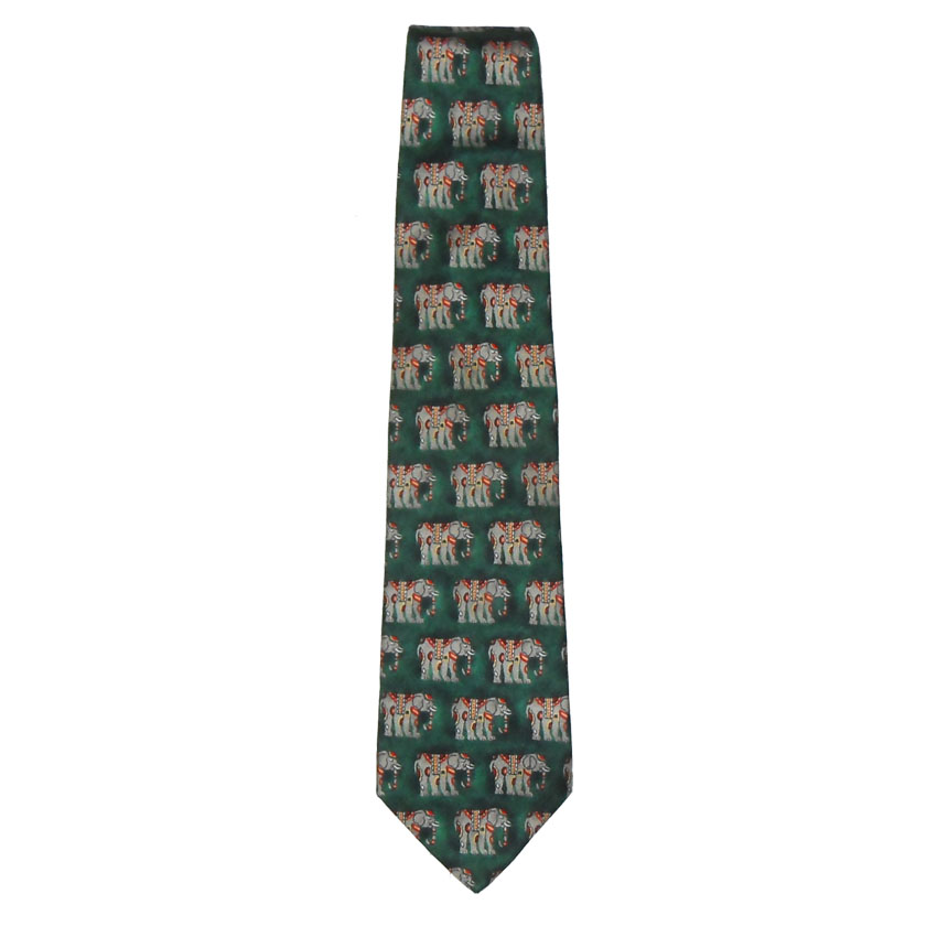 Elephant design silk tie by Dunhill