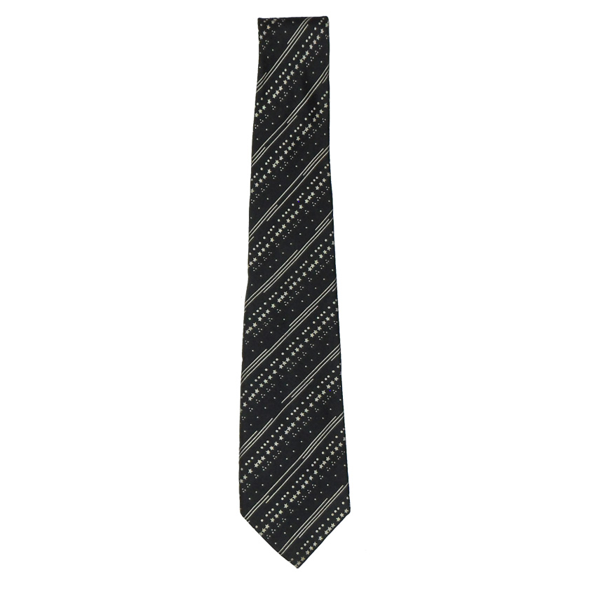 Cecil Gee vintage black and white silk tie