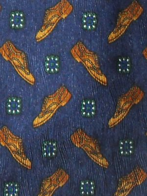 Bally silk tie with a shoe design on a blue background