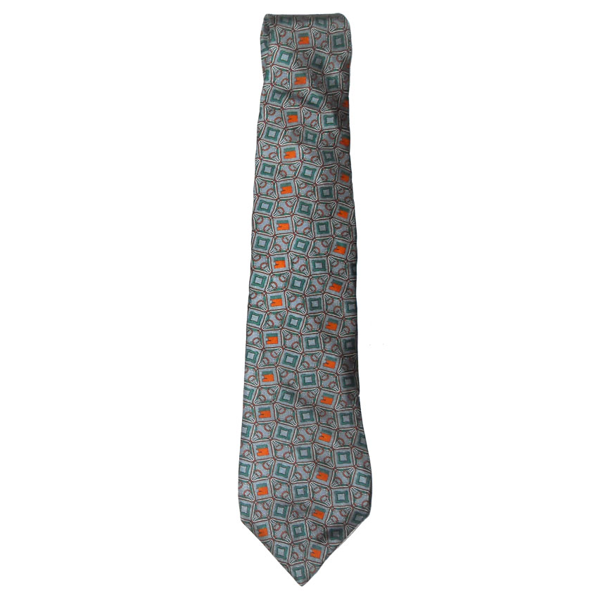 Silver orange and green design silk tie