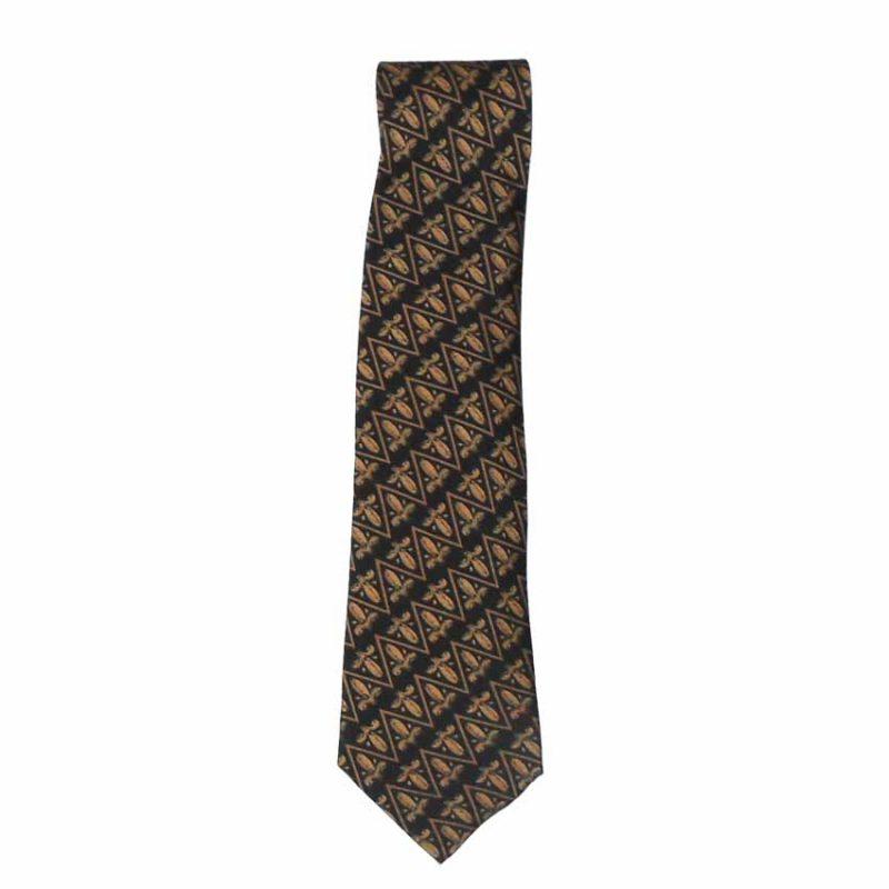 Buckingham Palace hand printed fleur de lis design silk tie