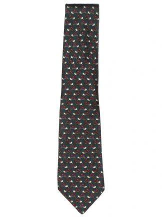 Lancel jockey cap and crop design silk tie
