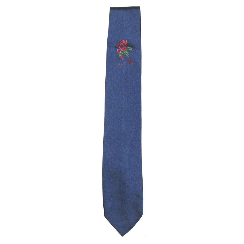 Kenzo blue silk tie with an embroidered flower design and signature of the designer