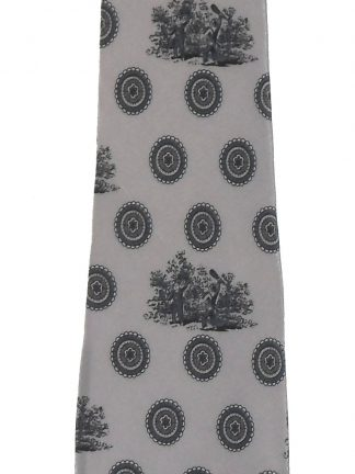 Grey silk tie with a design of men with clubs by Bielle Italy