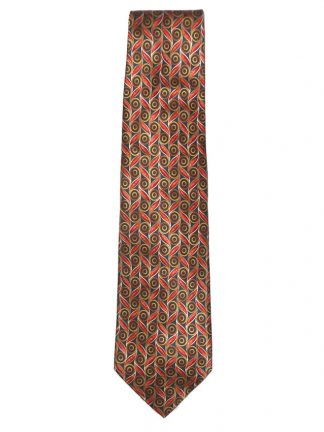 Valentino Italy silk satin tie with a graphic design in orange and gold on a dark background