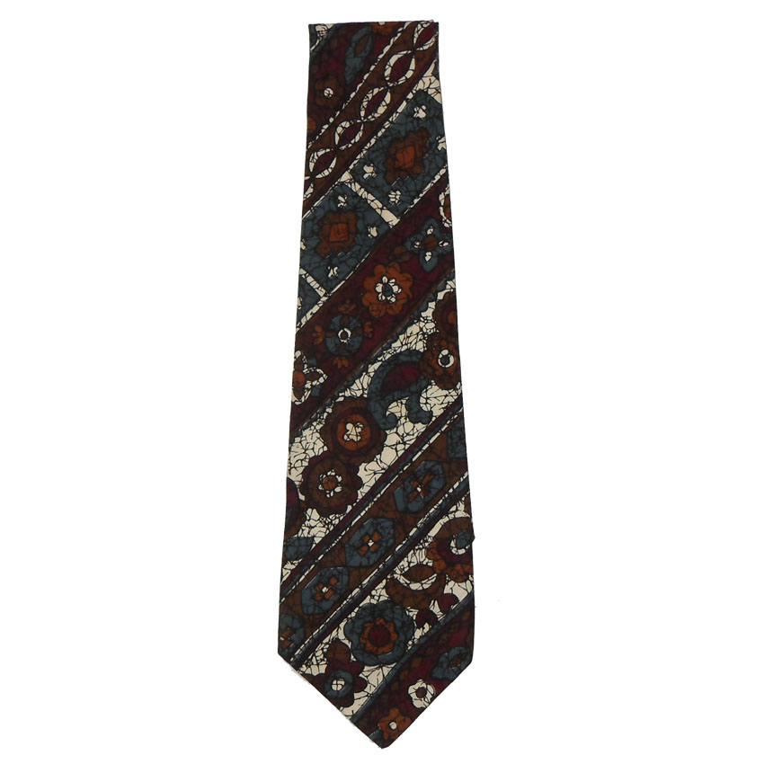 Batik cotton tie by Batiska with a design in blue, brown and white