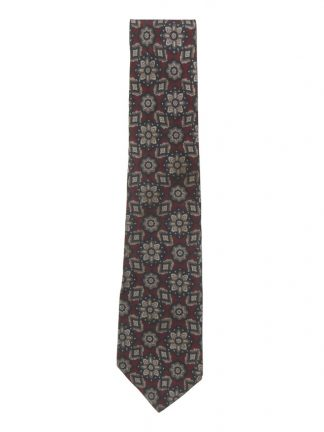 Vintage Lanvin silk tie with a floral deisgn in dark blue and taupe on a dark red background