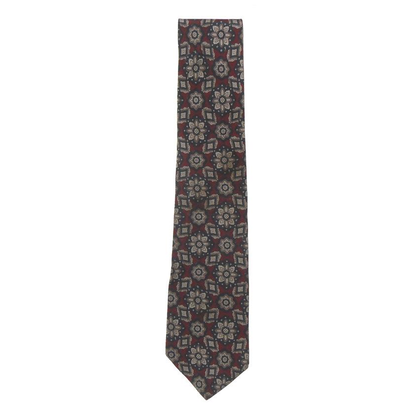 Vintage Lanvin silk tie with a floral deisgn in dark blue and taupe on a dark red background