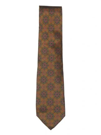 Made in Italy silk tie with a gold background and a design in bright pink and grey