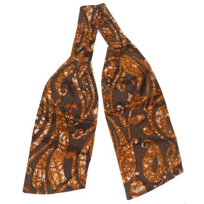 Bown silk cravat with a floral and paisley batik design