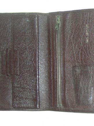 Dark brown vintage grained leather wallet