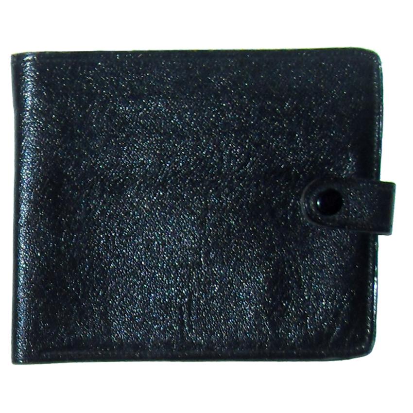 Keystone black fold over grained leather vintage wallet