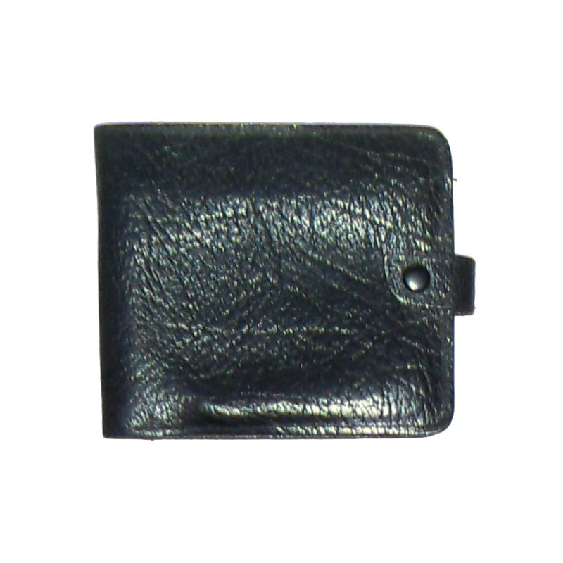 Black grained leather bifold wallet made in England