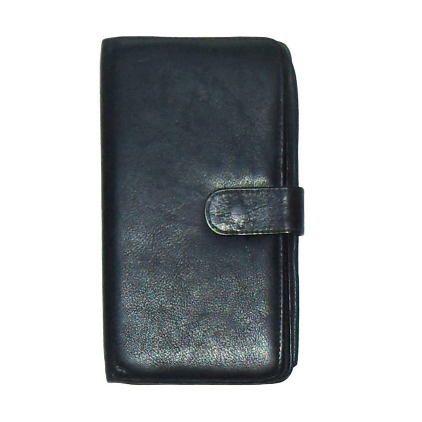 Soft black leather retro wallet
