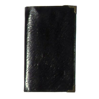 Black grained leather wallet with goldtone metal corners