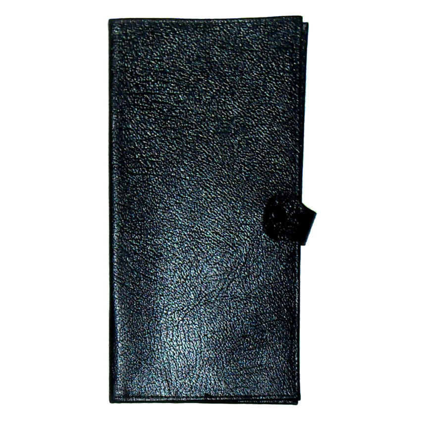 Black grained leather travel wallet