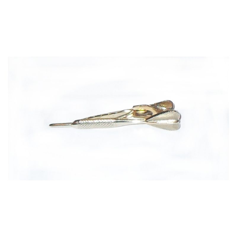 Goldtone metal tiepin in the shape of a dart