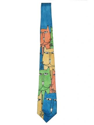 Hand painted silk tie with a design of colourful cats