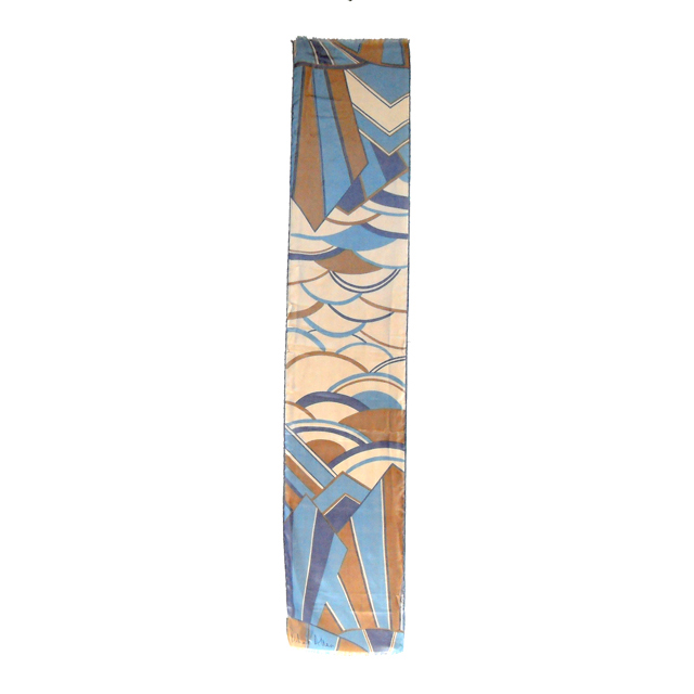 Blue and cream long Richard Allan silk scarf