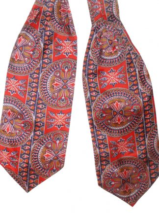 Vintage Sammy Dicel cravat made in Britain with a red gold and blue design