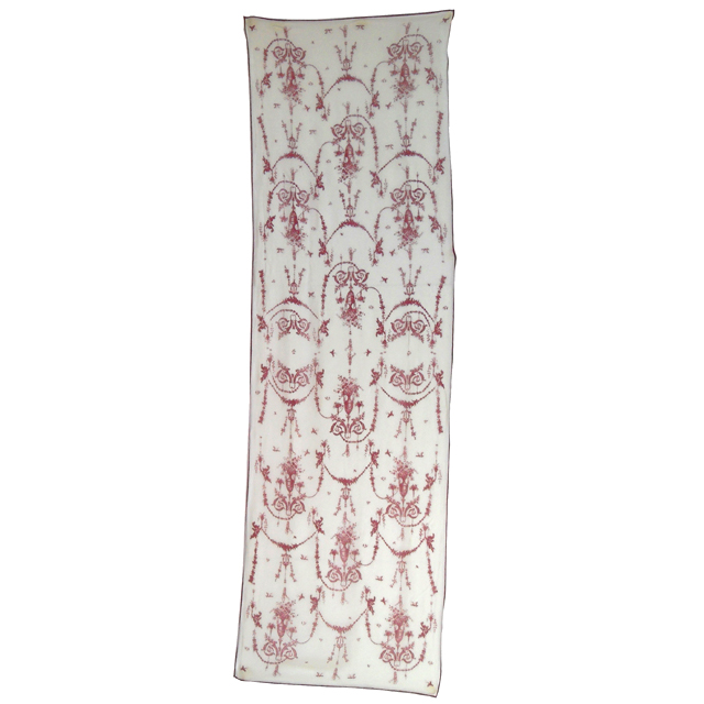 Cherub and urn design long silk chiffon scarf