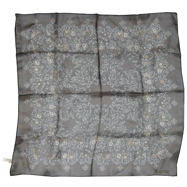 Anne Klein dark blue floral design chiffon scarf