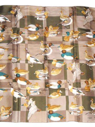 Battistoni Italy silk scarf with a design of ducks, drakes and mallards