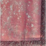 Deer desgn pink silk scarf with burgundy border