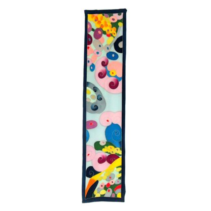 Vibrant pop art design long silk scarf with a teal border