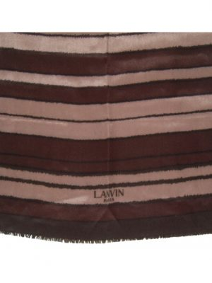 Lanvin Paris long silk scarf with brown stripe design