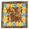 Animal print textured silk scarf with a blue and yellow flower design