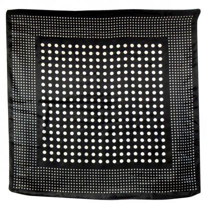 Black and white spot design silk scarf