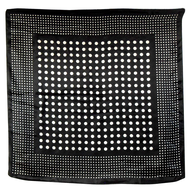 Black and white spot design silk scarf